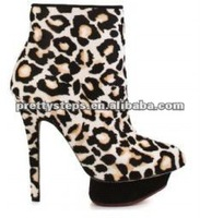 Pretty Steps latest design fahion 12cm thick heels leopard print women leather winter boots