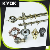 KYOK home decoration double Curtain rod accessories, curtain rod wholesale & curved shower curtain rod factory in Foshan