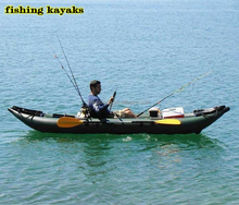 Green color 0.9mm PVC double fishing kayaks for sale