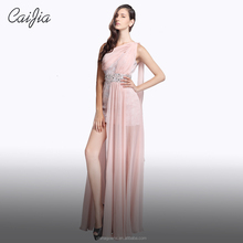 Caijia Beading One Shoulder Ruched Cocktail Party Dress Bridesmaid Dresses Long With Beading Waistband