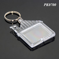 House Shaped Clear Plastic Insert Picture Photo Transparent ABS Wholesale Blank Acrylic Photo Key Chain