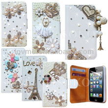 NEW LUXURY 3D BLING DIAMOND PU LEATHER WALLET CASE FOR APPLE iPHONE 4S 5S 5C