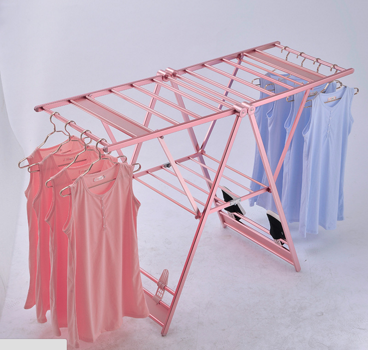 Rose gold folding stand clothes hanger drying rack