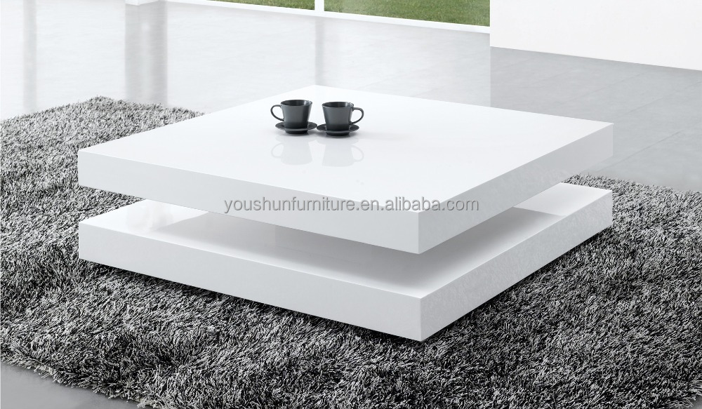 fashionable modern white high gloss square wooden coffee table in living room made in China