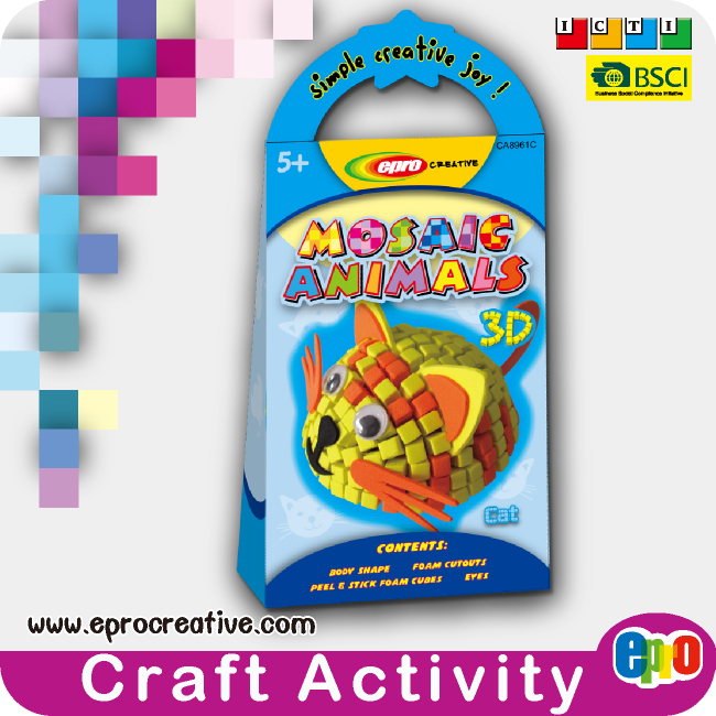 EPRO CA8961C kids decoration accessories art and crafts, 3D mosaic animal making kit