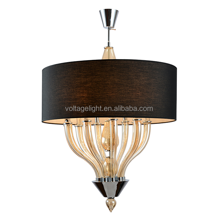 Modern Italian Fancy Crystal Glass Chandelier Lights Matt Black Round Hanging Lamp