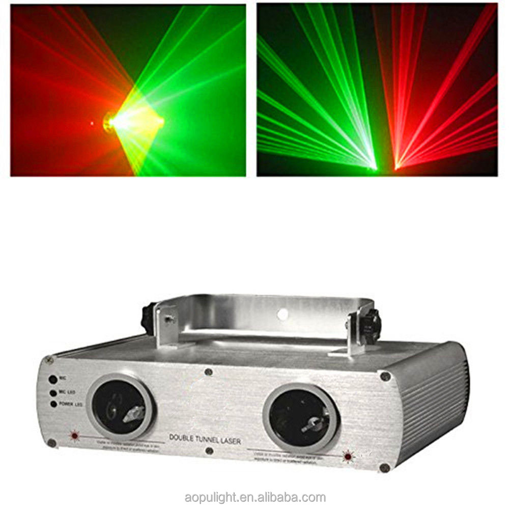 2-Lens Red & Green Laser Lighting Stage Light Show Beam System DMX512 KTV