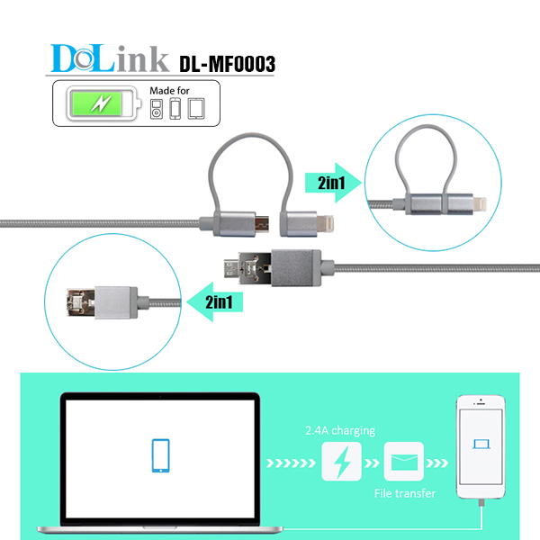 For mobile phone charging and sync with micro and mini plug portable 2 in 1 data cable