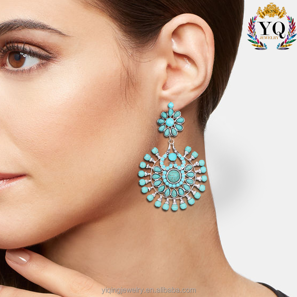 EYQ-00098 The fashion charm radial natural turquoise festival gift party wedding earrings jewelry for women