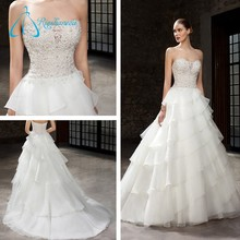 Beading Tiered Covered Button Sweetheart Plus Size Wedding Dress Bridal Gown