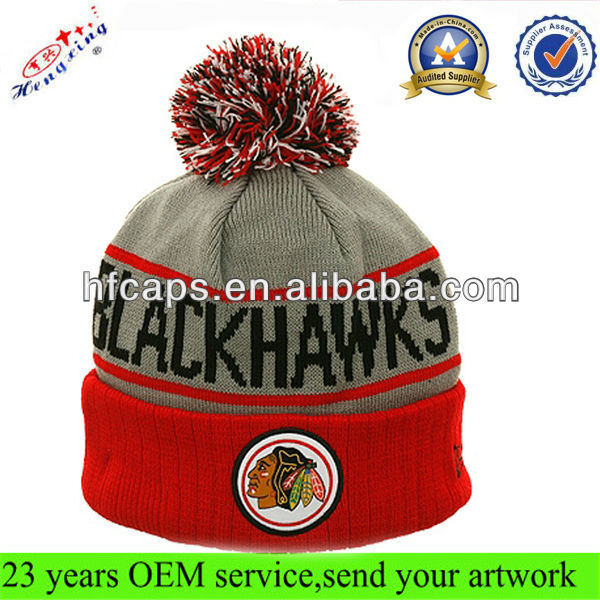 Adult acrylic knit beanie cap custom jacquard and embroidered knitted beanie and cap with top ball