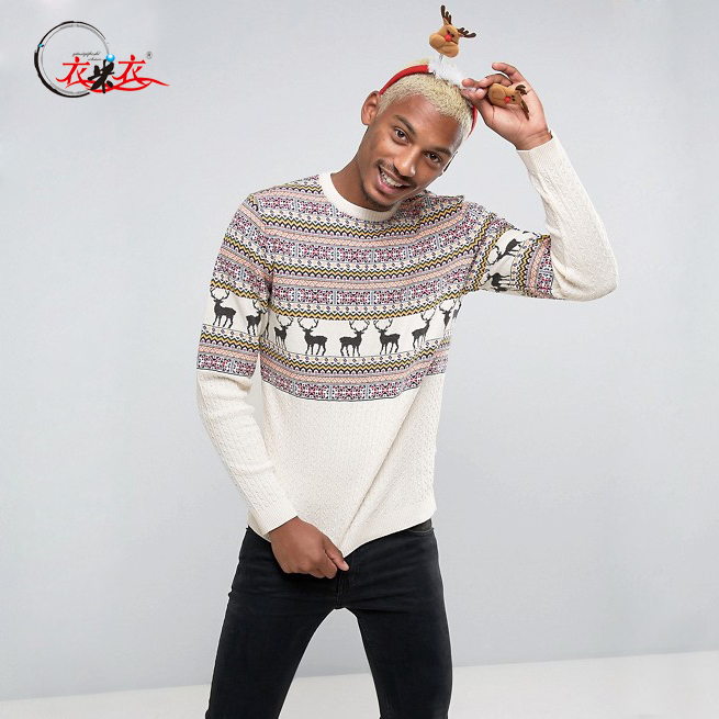 Men's Stag Printed Kint Pullover Sweater Holidays Custom Sweater