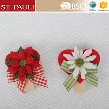 set of 2 novelty style 3.5 inch heart shape christmas paper clip wooden christmas ornament clips with fabric decoration