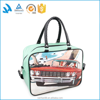 Fashion PU leather handbag tote bag for travel use with shoulder strape