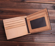 Stylish Italian vegetable tanned leather Men real leather bifold travel wallets with card slot purse