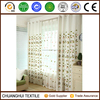 natural material leaf pattern embroidered grommet curtain