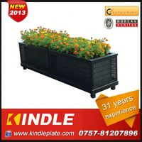 New Rattan nursery flower pot growing plant flat tray with a metal basin