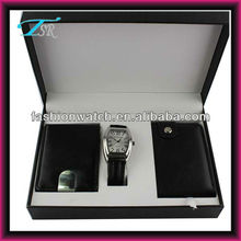 2013 popular in Europe Chrismas key and card holder leather wallet gents men's watch gift set