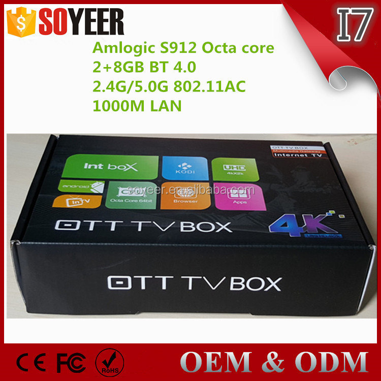 Soyeer Online movie watch free fully tv box Android 6.0 mashmallow amlogic s912 2g/8g OEM