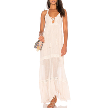 YL Cheap Fashion Women Bohemian White Midi Dress Young Ladies Sleeveless Front lace-up tassel ruffled Casual Dress for Wholesale
