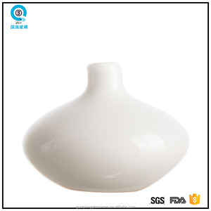 White stone color mouth blown glass flower vase decorative