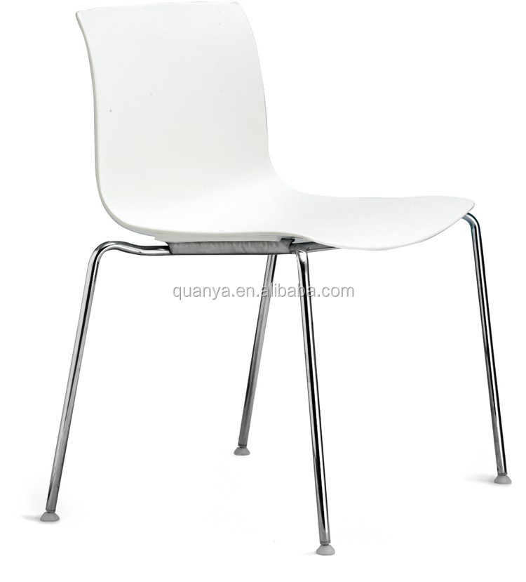 Metal Legs white modern plastic dining chair white resturant chair