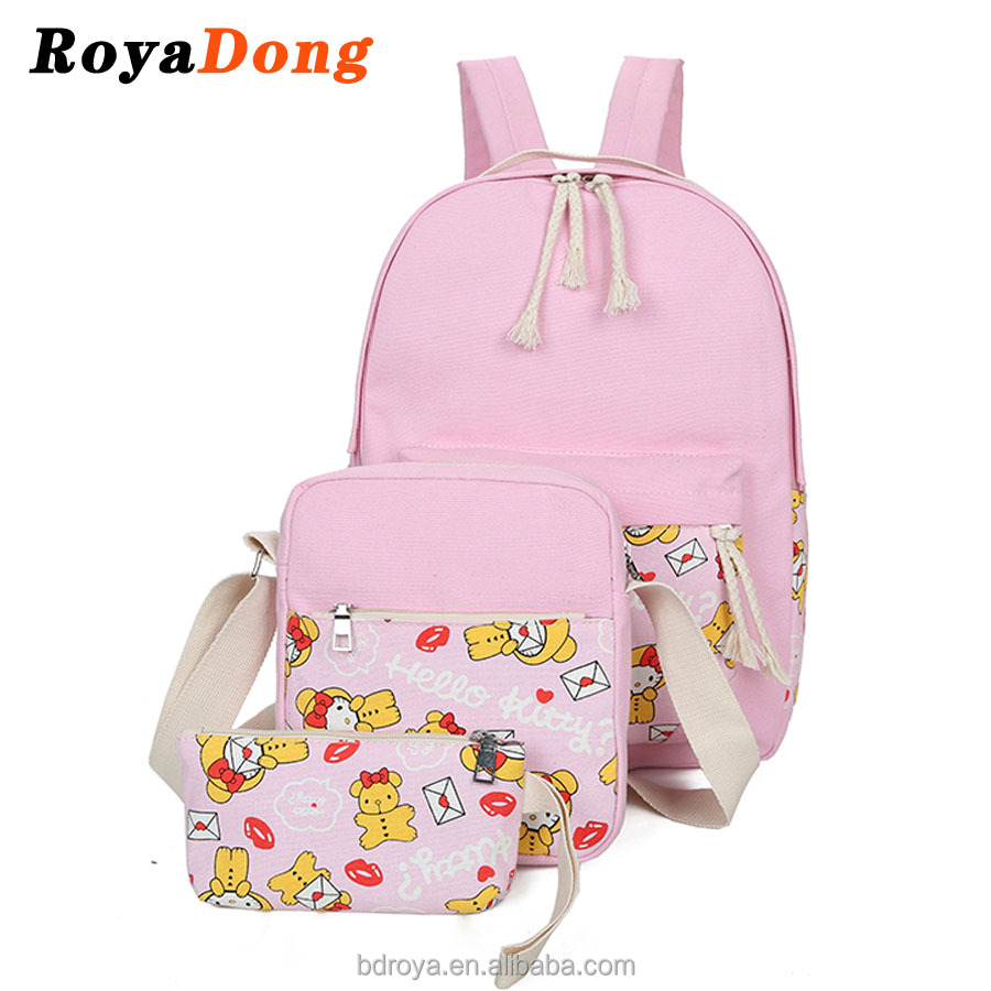RoyaDong Children School Bags High Quality Canvas Printing Kids Backpacks For Teenage Girls Backpack Set For 3 Pieces