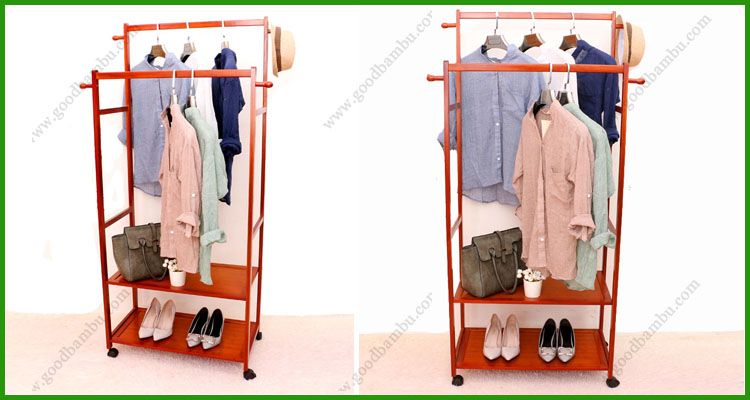 Double Rod Bamboo Mobile Wall Mounted Clothes Hanger Rack