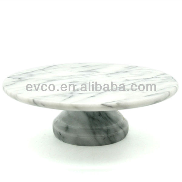 Genuine White Marble Cake Plate On Pedestal