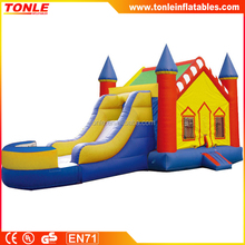 Castle V Roof Inflatable Bounce House Slide Combo for sale, kids inflatable bounce slide combo