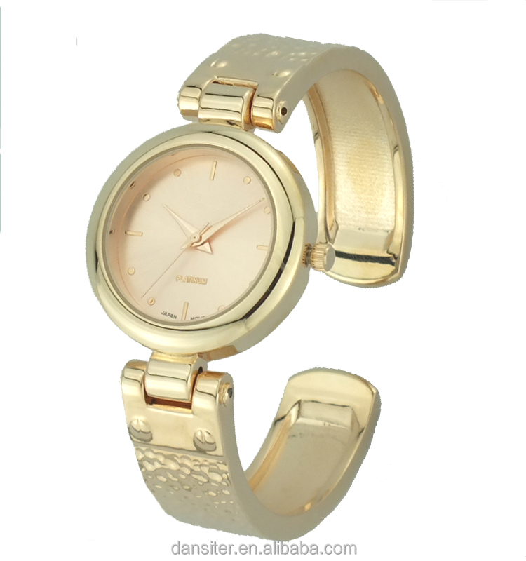 Dansiter Cheap Ladies gold plated tone bracelet watch