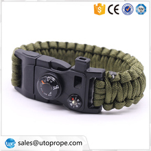 Multi-function outdoor Survival Paracord Bracelet with Compass whistle fishing and fire starter