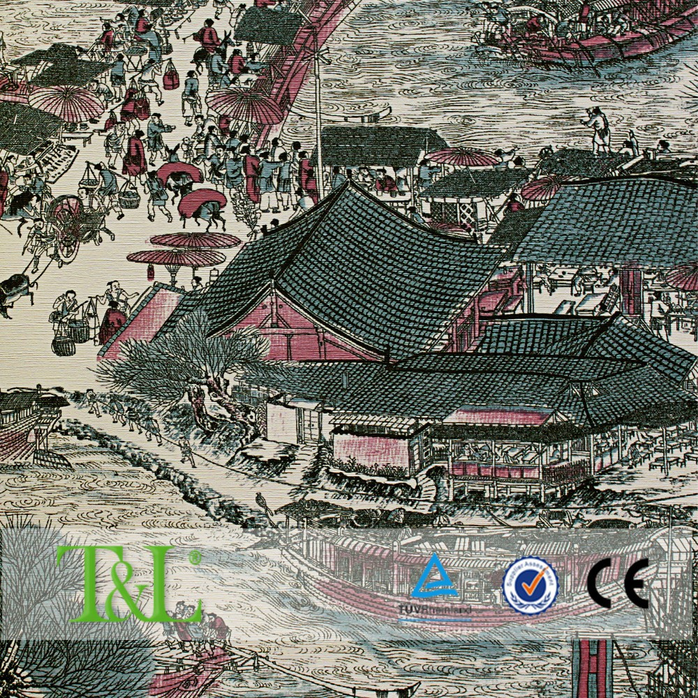 Chinese famous painting decorative wallpaper