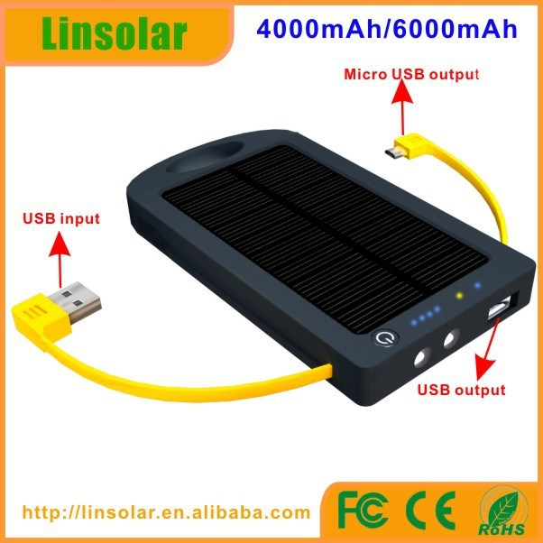 build your brand ce rohs 4000mAh 5V 2.4A solar cell battery with charging cables