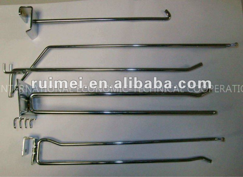 6'',8'',10'',12'',14'' Slatwall and Pegboard Chrome Plating Prong Hook