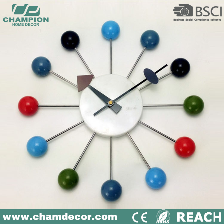 14 inch cheapest plastic magnetic rotate diy ball wall clock China ,solar wall clock
