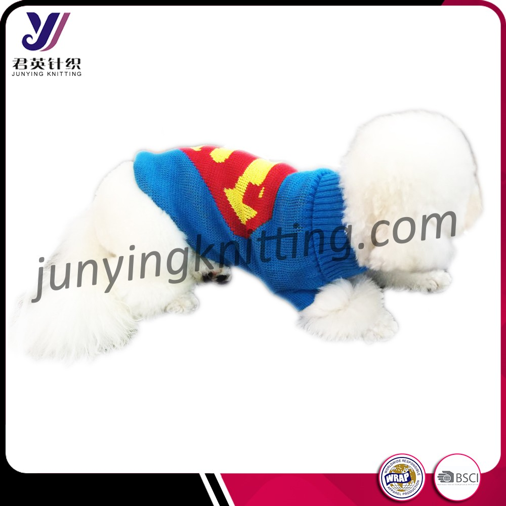 Superman Blue Knitted pet dog clothes small dog puppies for sale pet clothes(Accept the design draft)