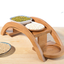 Bridge style wooden sushi plate