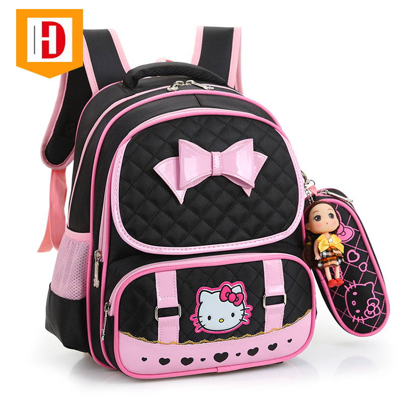 Large Capacity Cute Bowknot Child Fashion School Bags For Girl With Pen Bag
