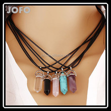 Fashion Jewelry Hexagonal Column Necklace Natural Quartz Turquoise Agate Amethyst Stone Pendant Necklace Valentine's Day Gifts