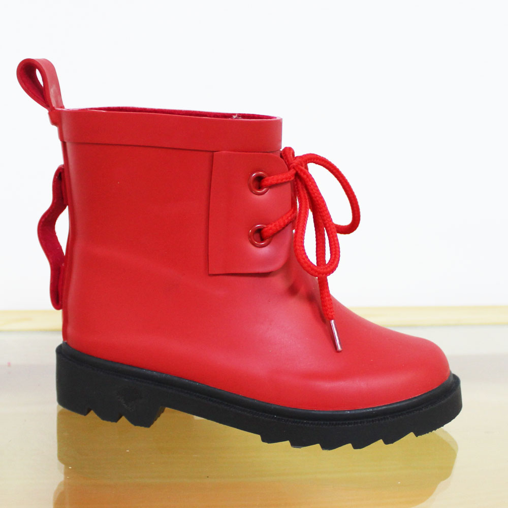 fashional lace up ankle rubber rain boot