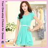 Free Shipping Women Blue Chiffon Designer One Piece Party Dress