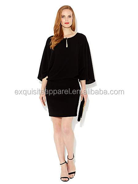 Women's Black Chiffon Drape Sleeve Keyhole Detail Summer Tunic Dress/pictures of fashion night dresses for women