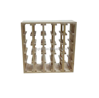 Factory wholesale 20 bottle square pine wood display rack wine shelf for sale