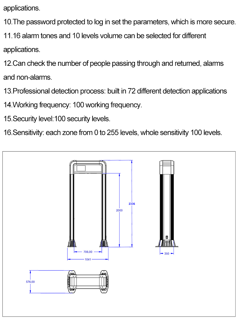 New design 45 Detection Zones Arched Walk Though Metal Detector Door with android system