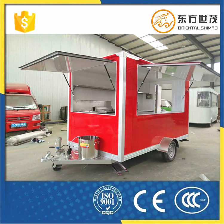 mobile food kiosk catering trailer caravan fast food trailer with wheels for sale
