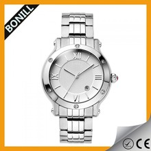 2015 Roman numerals stainless steel geneva strap brand fashion watch women