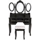 Customized Design Modern Black 3 Mirror Wooden Dressing Table Set