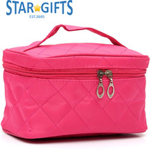 Pink Multi-function Professional Eatra Large Stand Up Soft Nylon Travel MakeUp Cosmetic Bag With Mirror