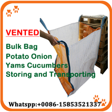 Factory sell breathable black woven pp potato big bag ventilated